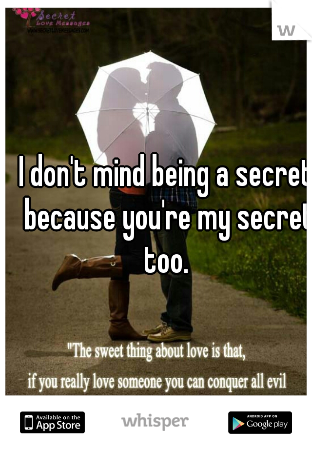 I don't mind being a secret because you're my secret too.