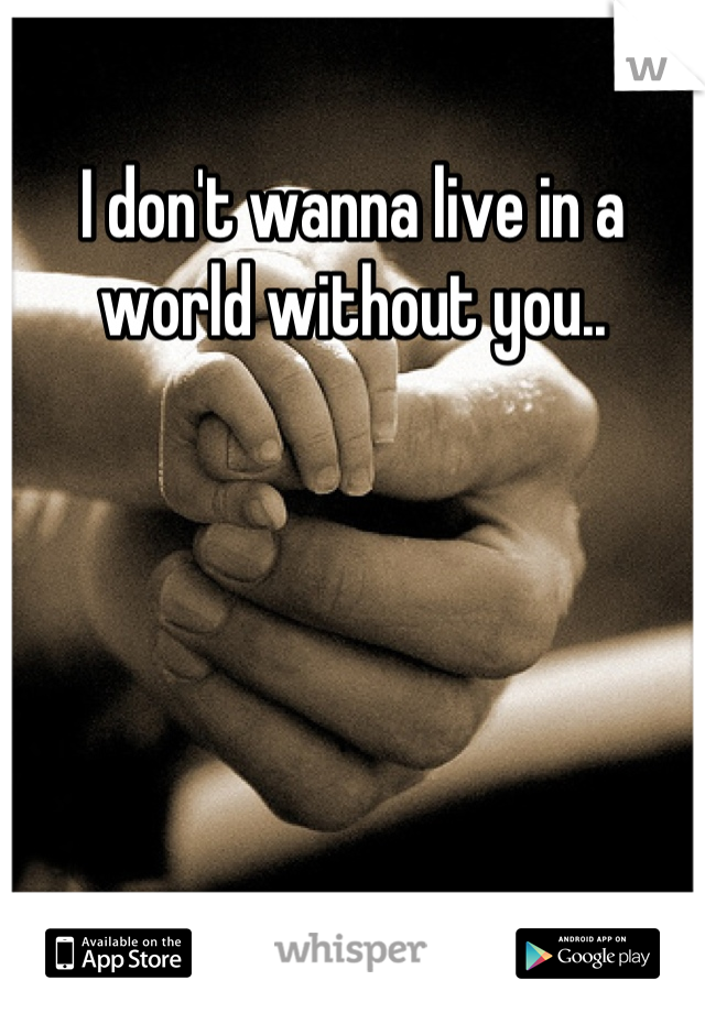I don't wanna live in a world without you..