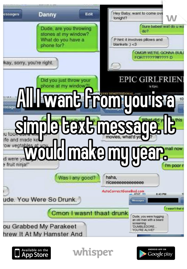 All I want from you is a simple text message. It would make my year.