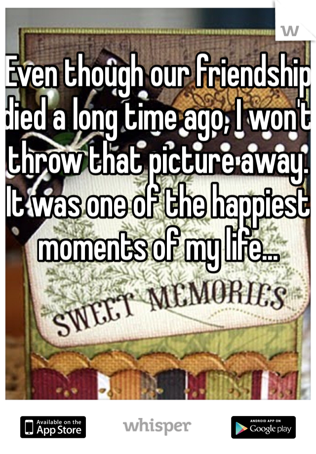 Even though our friendship died a long time ago, I won't throw that picture away. It was one of the happiest moments of my life...