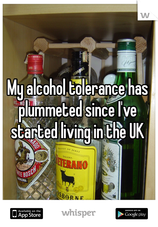 My alcohol tolerance has plummeted since I've started living in the UK
