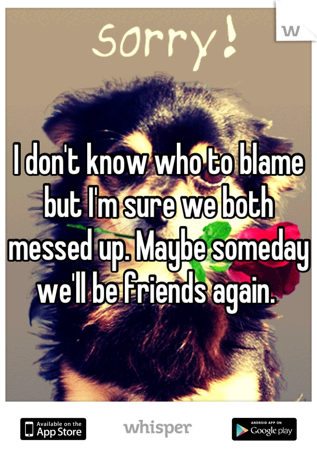 I don't know who to blame but I'm sure we both messed up. Maybe someday we'll be friends again.