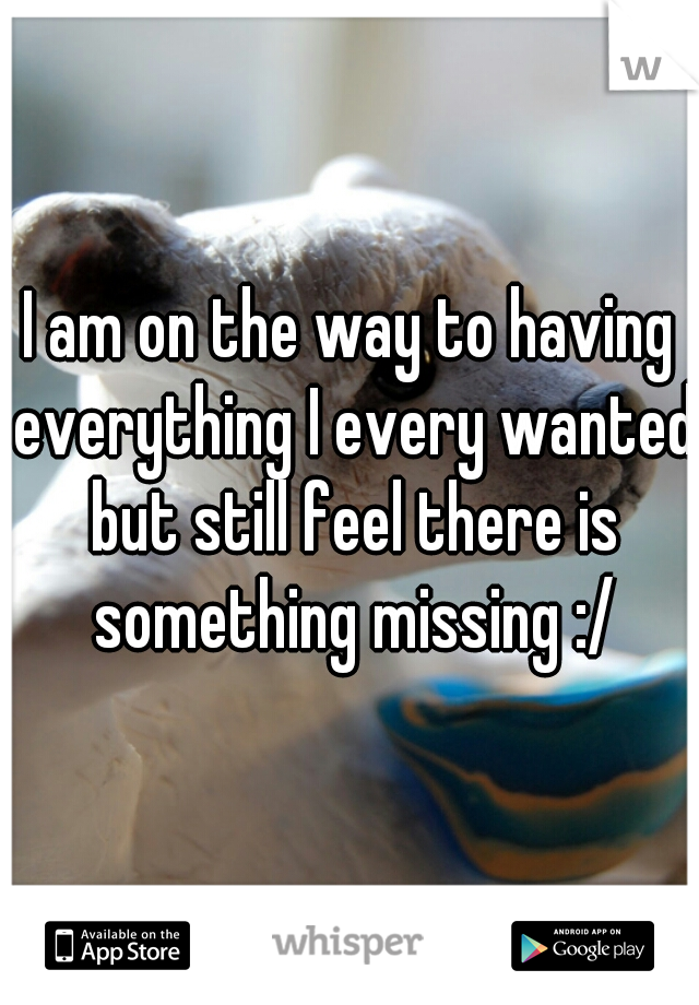 I am on the way to having everything I every wanted but still feel there is something missing :/