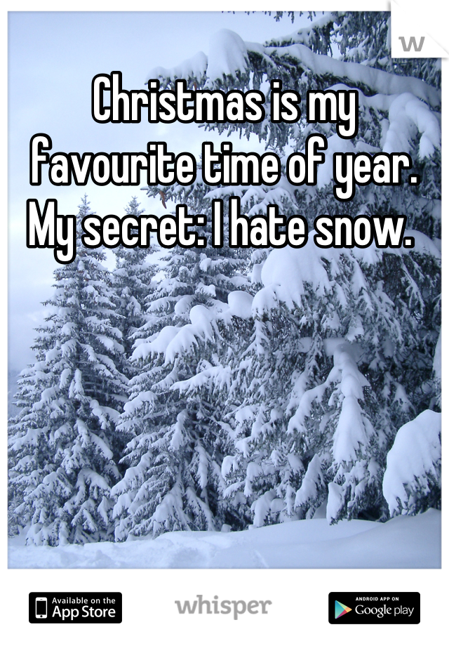 Christmas is my favourite time of year. My secret: I hate snow.