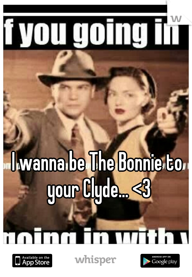 I wanna be The Bonnie to your Clyde... <3