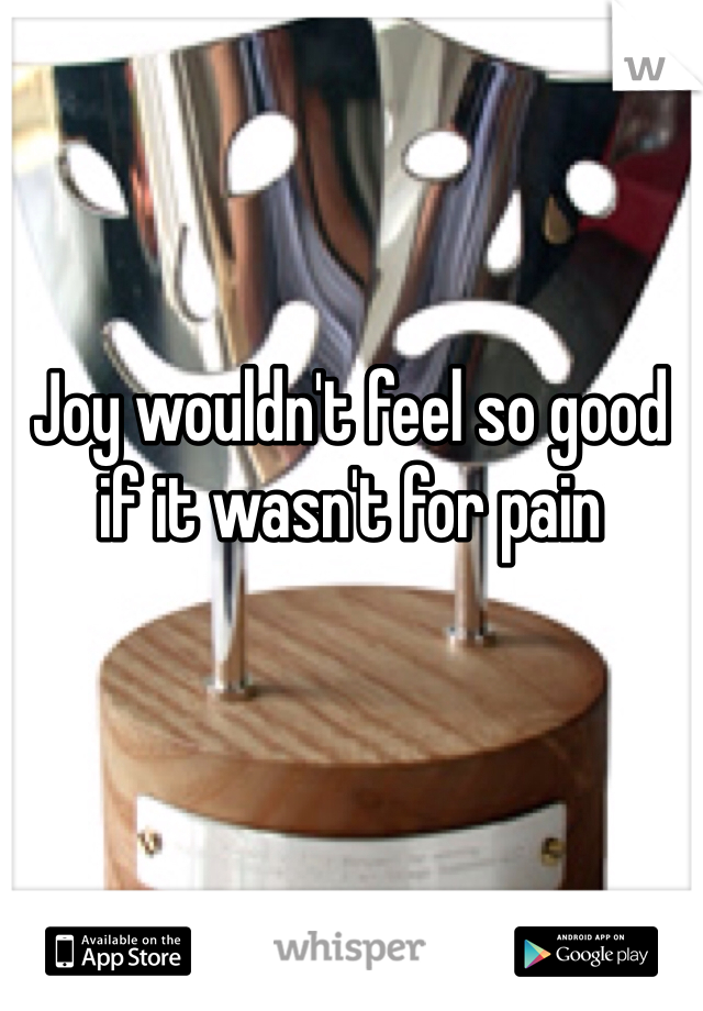 Joy wouldn't feel so good if it wasn't for pain