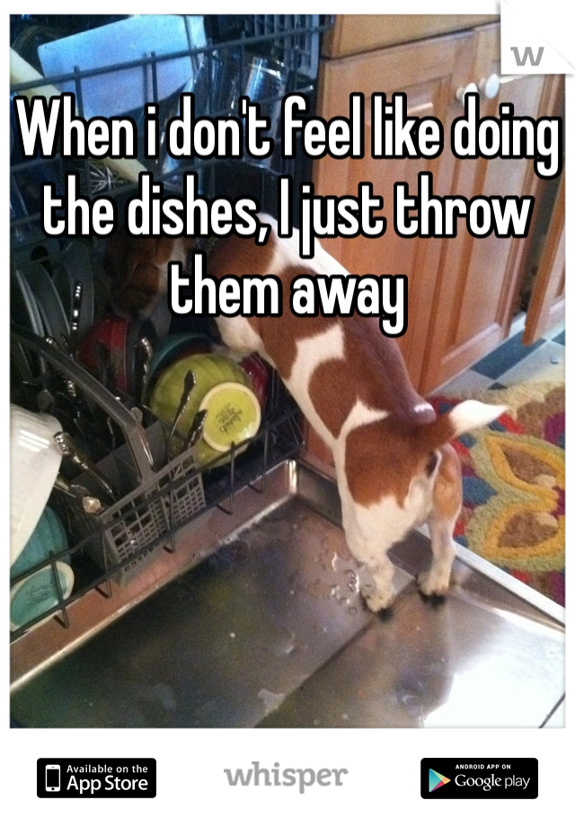 When i don't feel like doing the dishes, I just throw them away