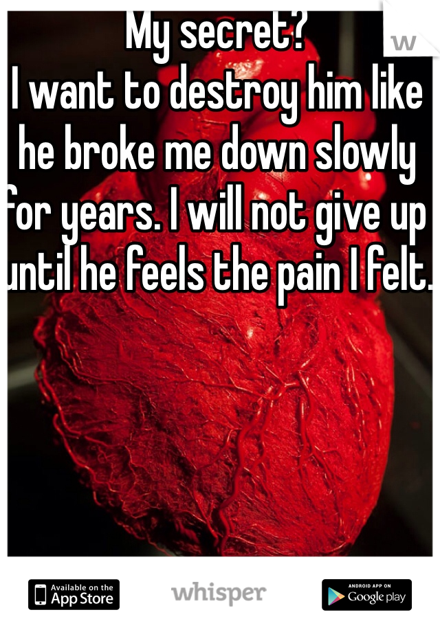 My secret? I want to destroy him like he broke me down slowly for years. I will not give up until he feels the pain I felt.