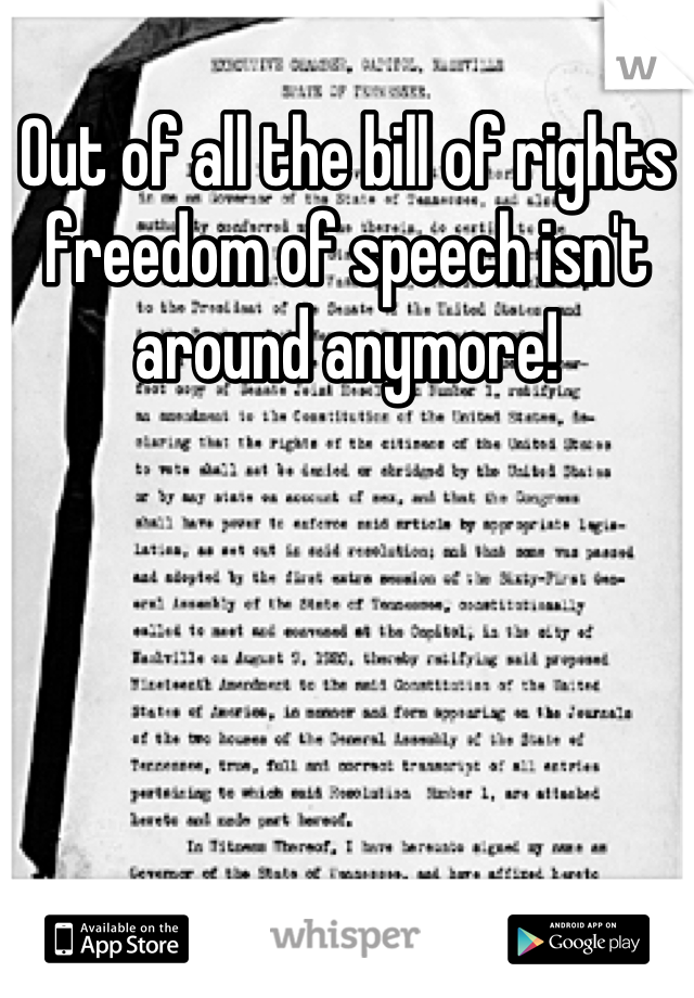 Out of all the bill of rights freedom of speech isn't around anymore!