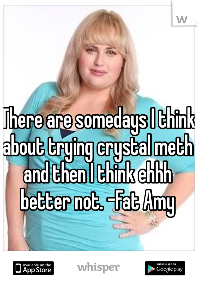 There are somedays I think about trying crystal meth and then I think ehhh better not. -Fat Amy