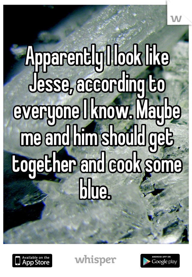 Apparently I look like Jesse, according to everyone I know. Maybe me and him should get together and cook some blue.