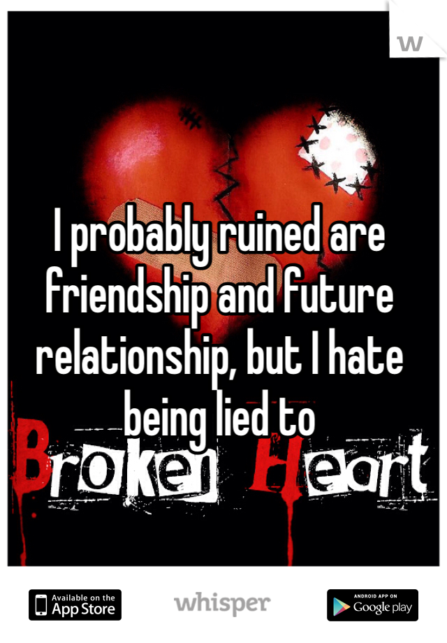 I probably ruined are friendship and future relationship, but I hate being lied to