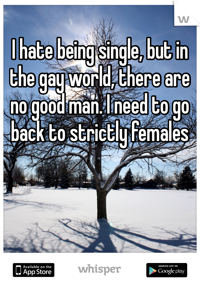 I hate being single, but in the gay world, there are no good man. I need to go back to strictly females