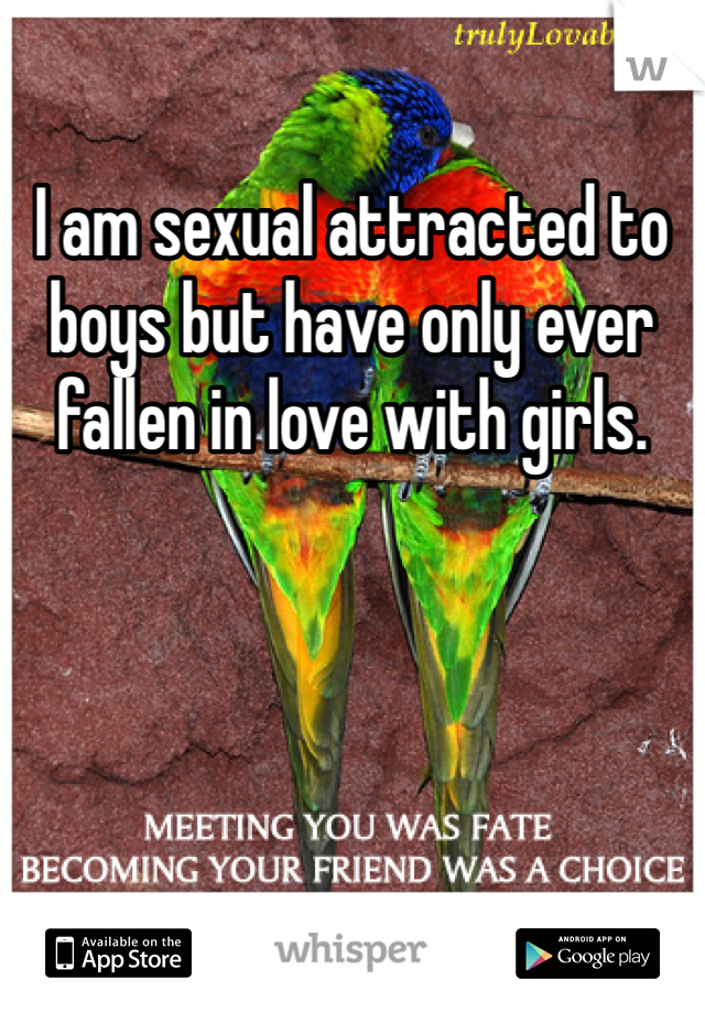 I am sexual attracted to boys but have only ever fallen in love with girls.