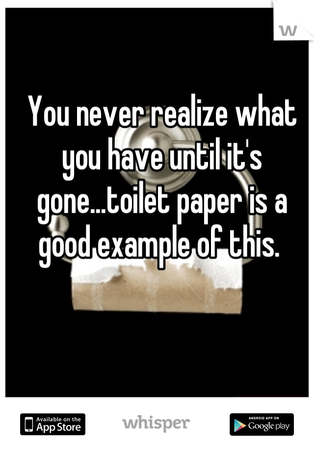 You never realize what you have until it's gone...toilet paper is a good example of this.