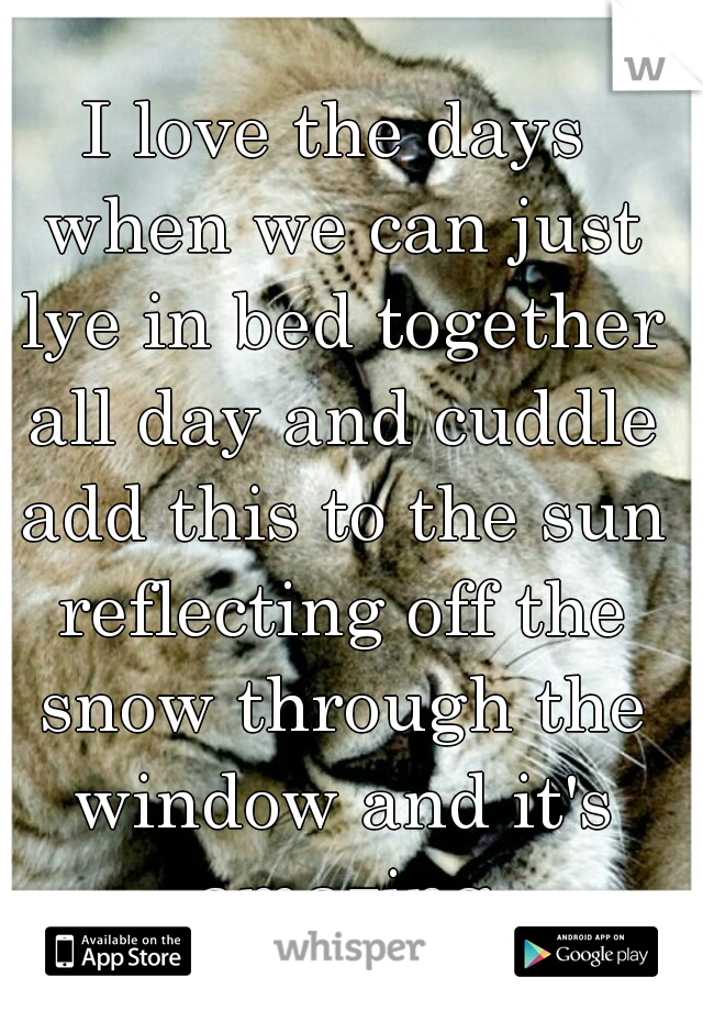 I love the days when we can just lye in bed together all day and cuddle add this to the sun reflecting off the snow through the window and it's amazing