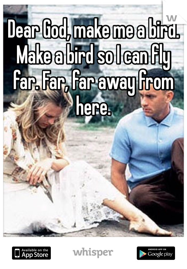 Dear God, make me a bird. Make a bird so I can fly far. Far, far away from here.