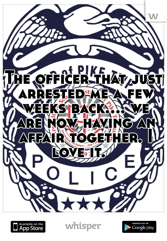 The officer that just arrested me a few weeks back.... we are now having an affair together. I love it.