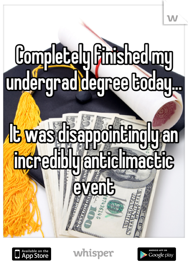 Completely finished my undergrad degree today...   It was disappointingly an incredibly anticlimactic event