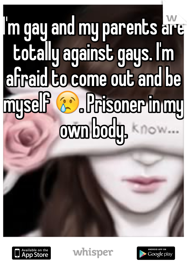 I'm gay and my parents are totally against gays. I'm afraid to come out and be myself 😢. Prisoner in my own body.