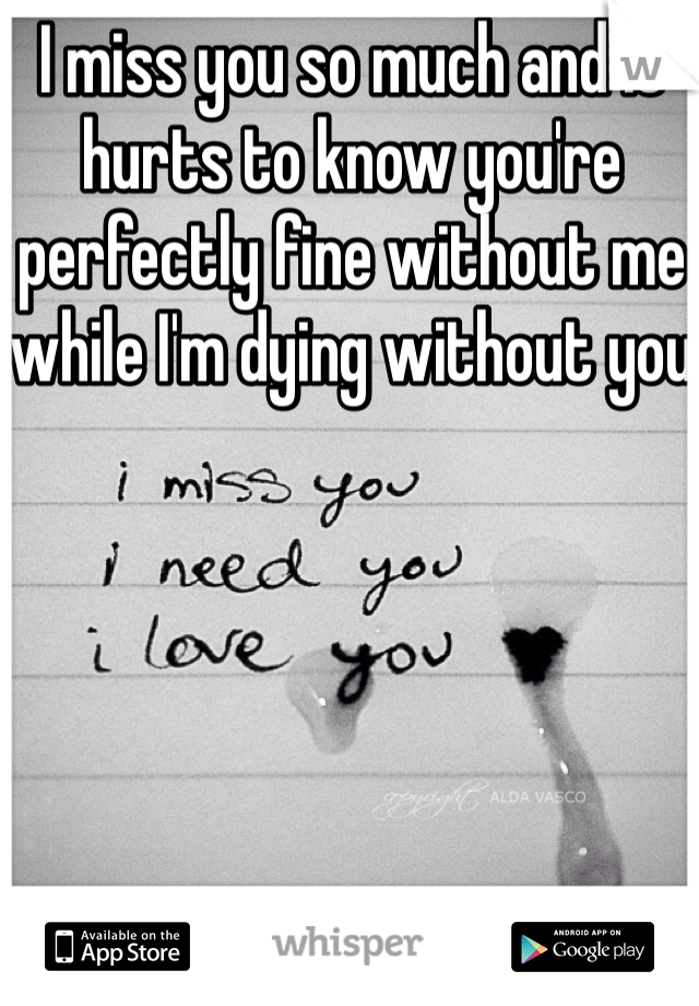 I miss you so much and it hurts to know you're perfectly fine without me while I'm dying without you