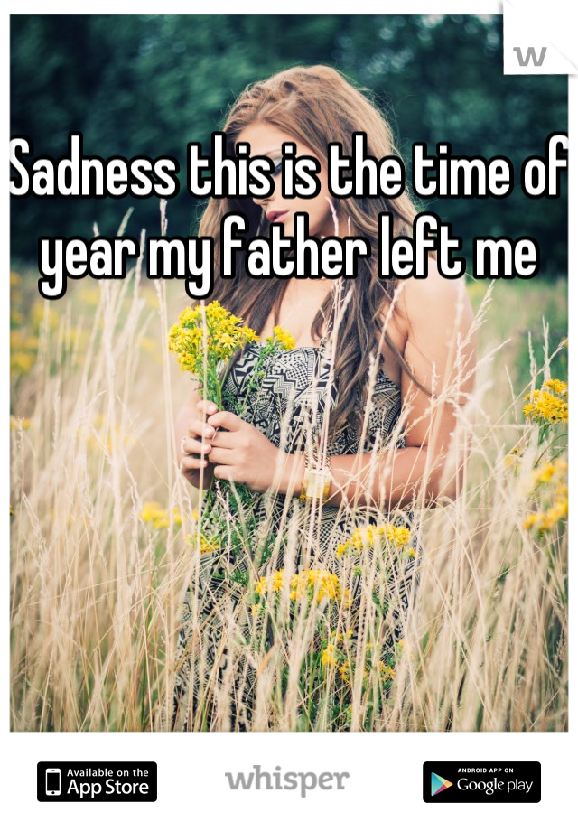 Sadness this is the time of year my father left me