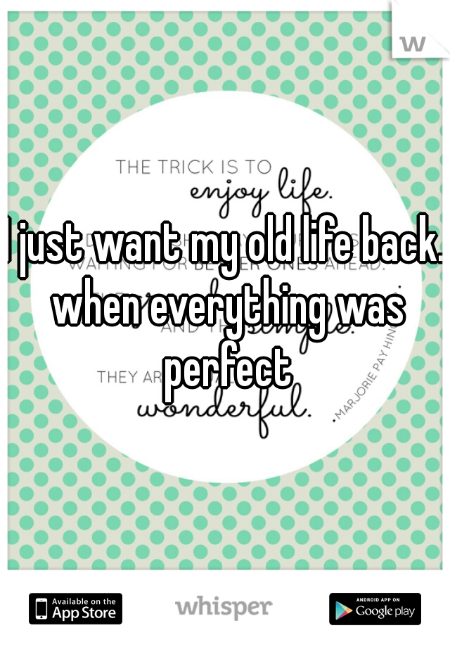I just want my old life back. when everything was perfect