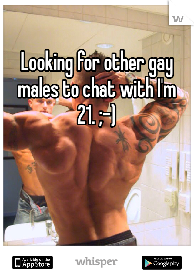 Looking for other gay males to chat with I'm 21. ;-)