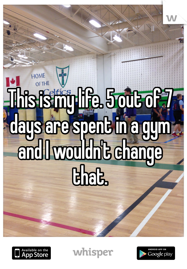 This is my life. 5 out of 7 days are spent in a gym and I wouldn't change that.