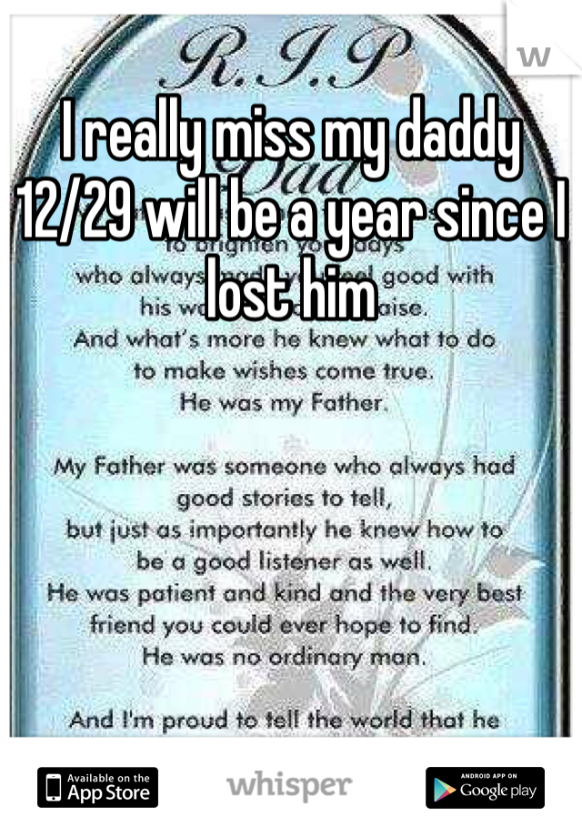 I really miss my daddy 12/29 will be a year since I lost him