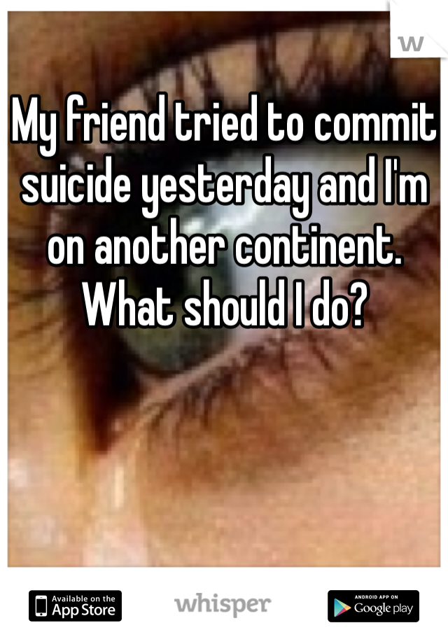 My friend tried to commit suicide yesterday and I'm on another continent. What should I do?