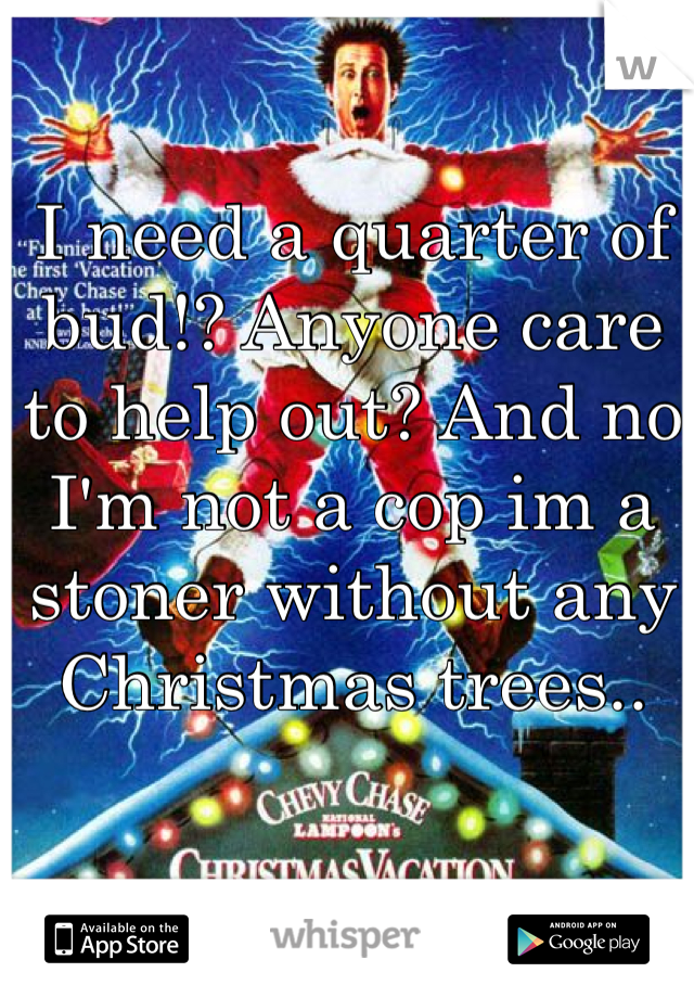 I need a quarter of bud!? Anyone care to help out? And no I'm not a cop im a stoner without any Christmas trees..