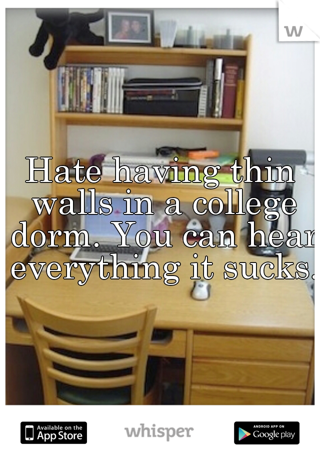 Hate having thin walls in a college dorm. You can hear everything it sucks.