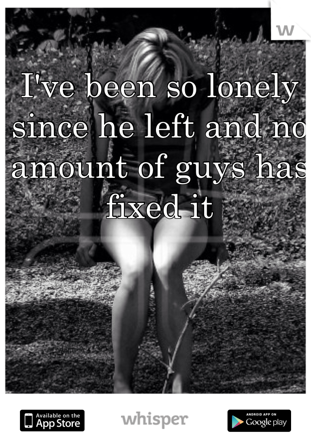 I've been so lonely since he left and no amount of guys has fixed it