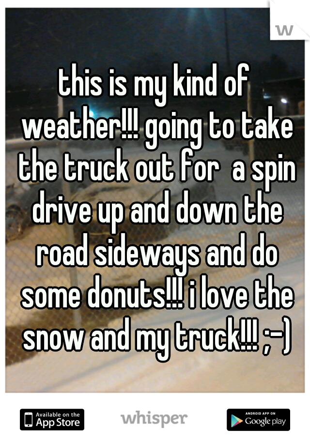 this is my kind of weather!!! going to take the truck out for  a spin drive up and down the road sideways and do some donuts!!! i love the snow and my truck!!! ;-)