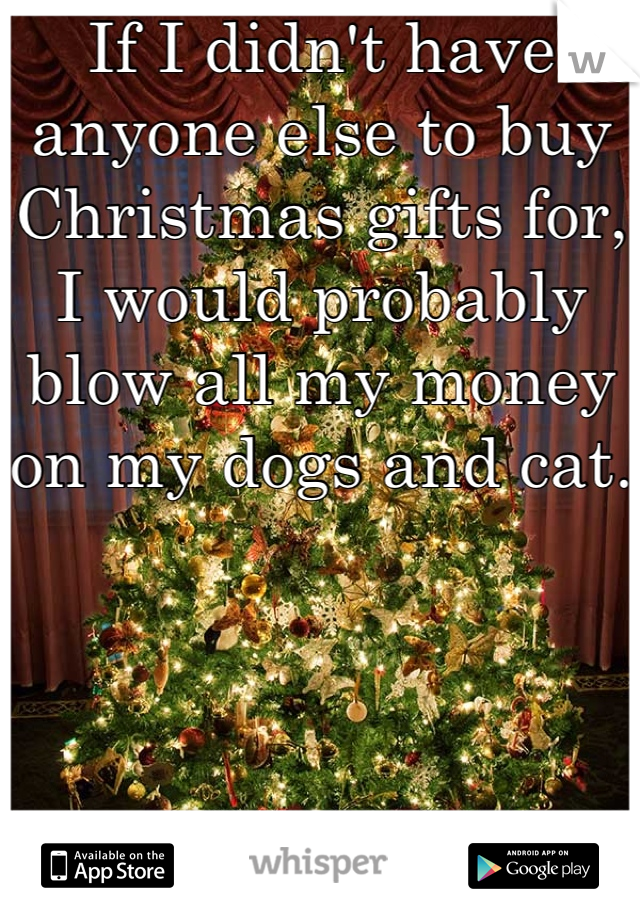 If I didn't have anyone else to buy Christmas gifts for, I would probably blow all my money on my dogs and cat.