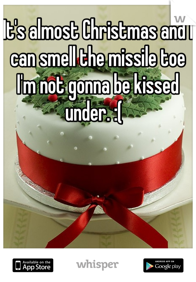 It's almost Christmas and I can smell the missile toe I'm not gonna be kissed under. :(