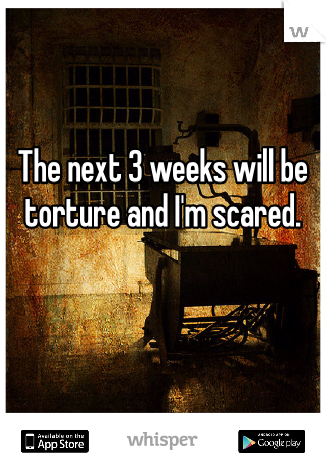 The next 3 weeks will be torture and I'm scared.