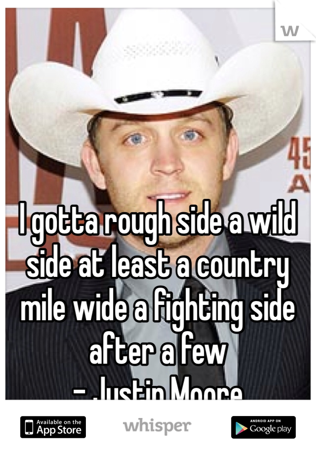 I gotta rough side a wild side at least a country mile wide a fighting side after a few - Justin Moore