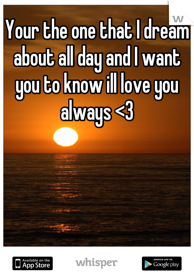 Your the one that I dream about all day and I want you to know ill love you always <3