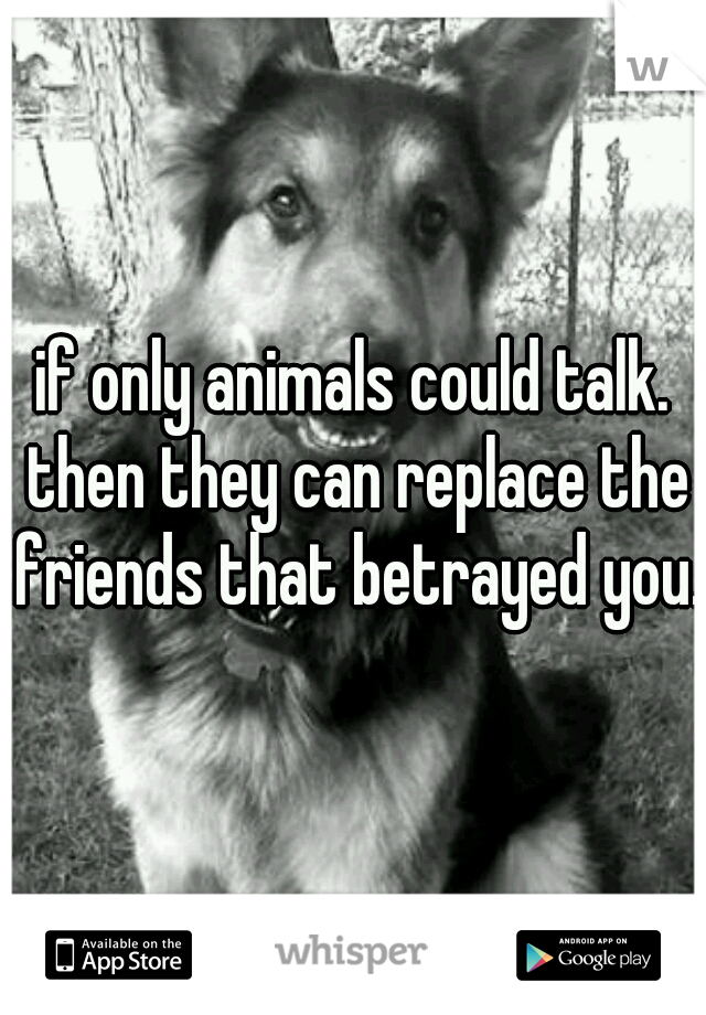if only animals could talk. then they can replace the friends that betrayed you.