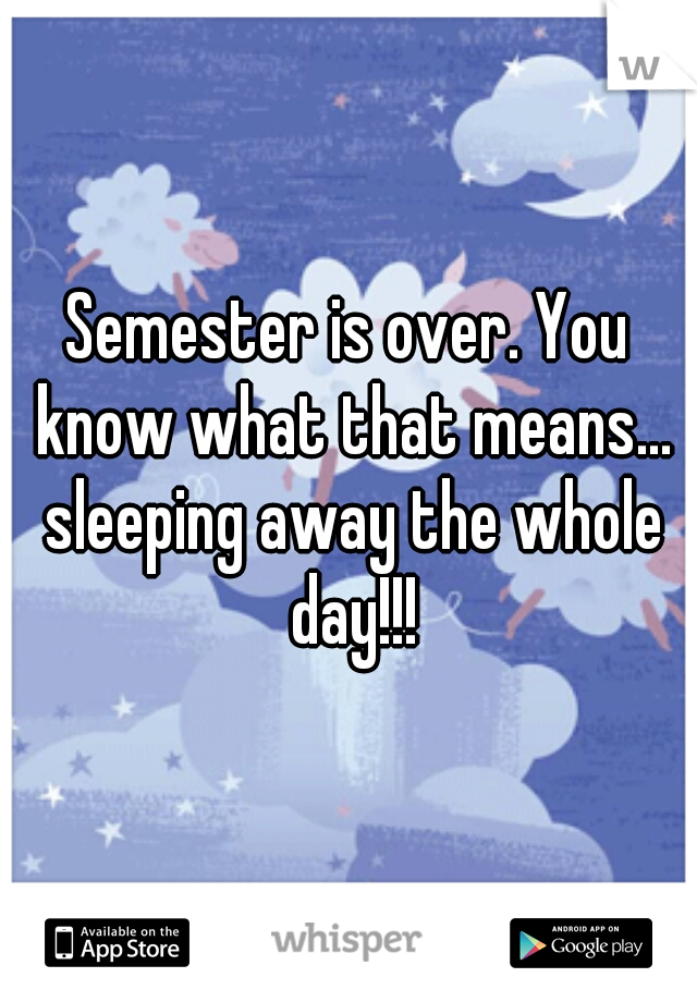 Semester is over. You know what that means... sleeping away the whole day!!!