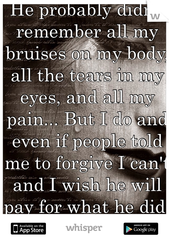 He probably didn't remember all my bruises on my body, all the tears in my eyes, and all my pain... But I do and even if people told me to forgive I can't and I wish he will pay for what he did!