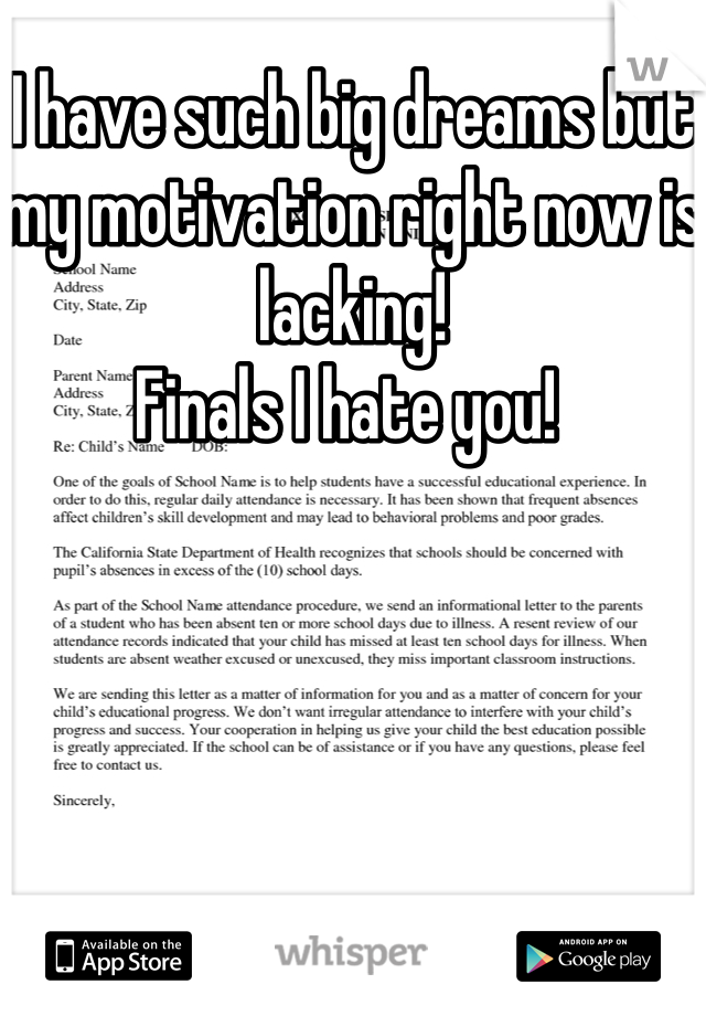 I have such big dreams but my motivation right now is lacking!  Finals I hate you!