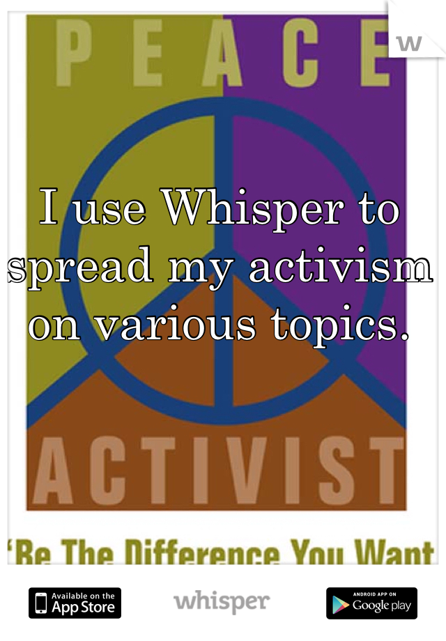 I use Whisper to spread my activism on various topics.