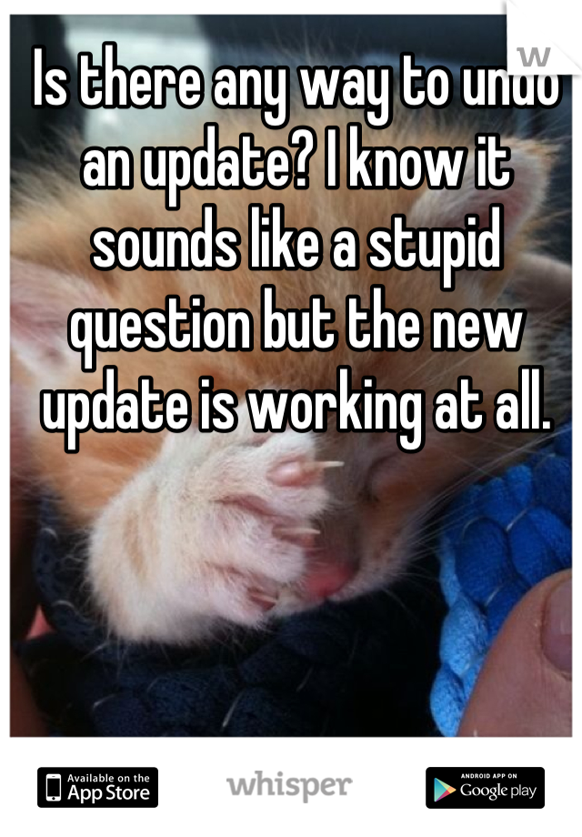 Is there any way to undo an update? I know it sounds like a stupid question but the new update is working at all.