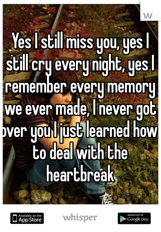 Yes I still miss you, yes I still cry every night, yes I remember every memory we ever made, I never got over you I just learned how to deal with the heartbreak