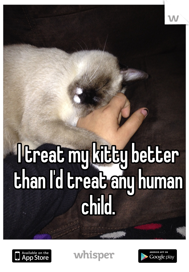 I treat my kitty better than I'd treat any human child.