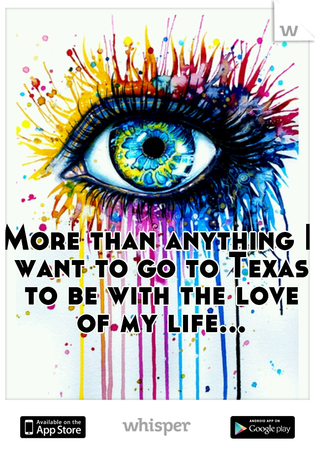 More than anything I want to go to Texas to be with the love of my life...