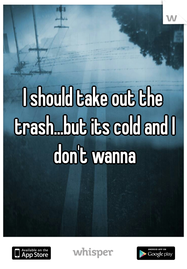 I should take out the trash...but its cold and I don't wanna
